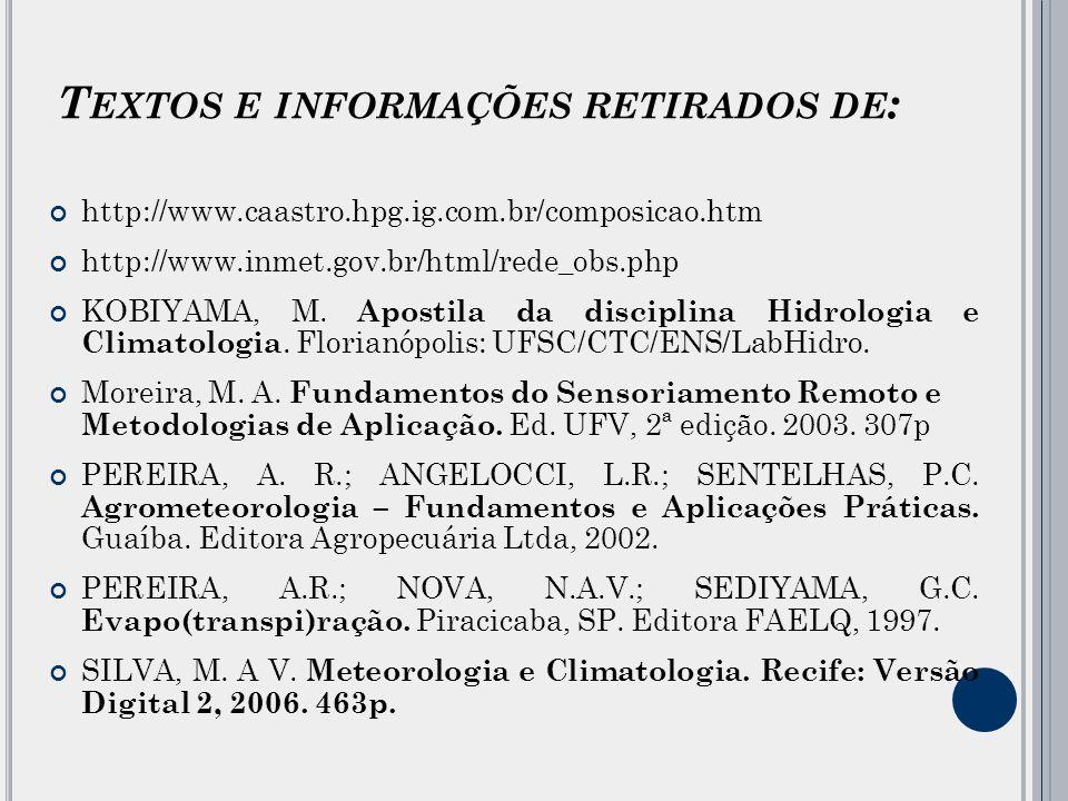 T EXTOS E INFORMAÇÕES RETIRADOS DE : http://www.caastro.hpg.ig.com.br/composicao.htm http://www.inmet.gov.br/html/rede_obs.php KOBIYAMA, M.