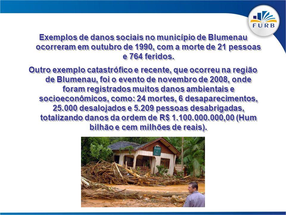 Exemplos de danos sociais no município de Blumenau ocorreram em outubro de 1990, com a morte de 21 pessoas e 764 feridos. Outro exemplo catastrófico e