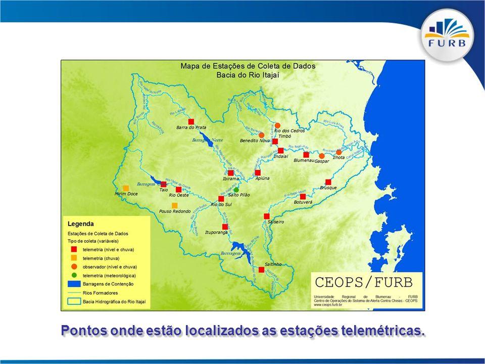 Pontos onde estão localizados as estações telemétricas.