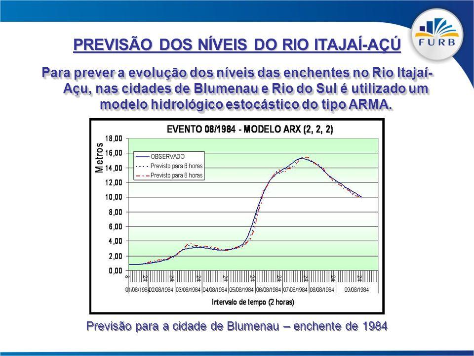 Para prever a evolução dos níveis das enchentes no Rio Itajaí- Açu, nas cidades de Blumenau e Rio do Sul é utilizado um modelo hidrológico estocástico