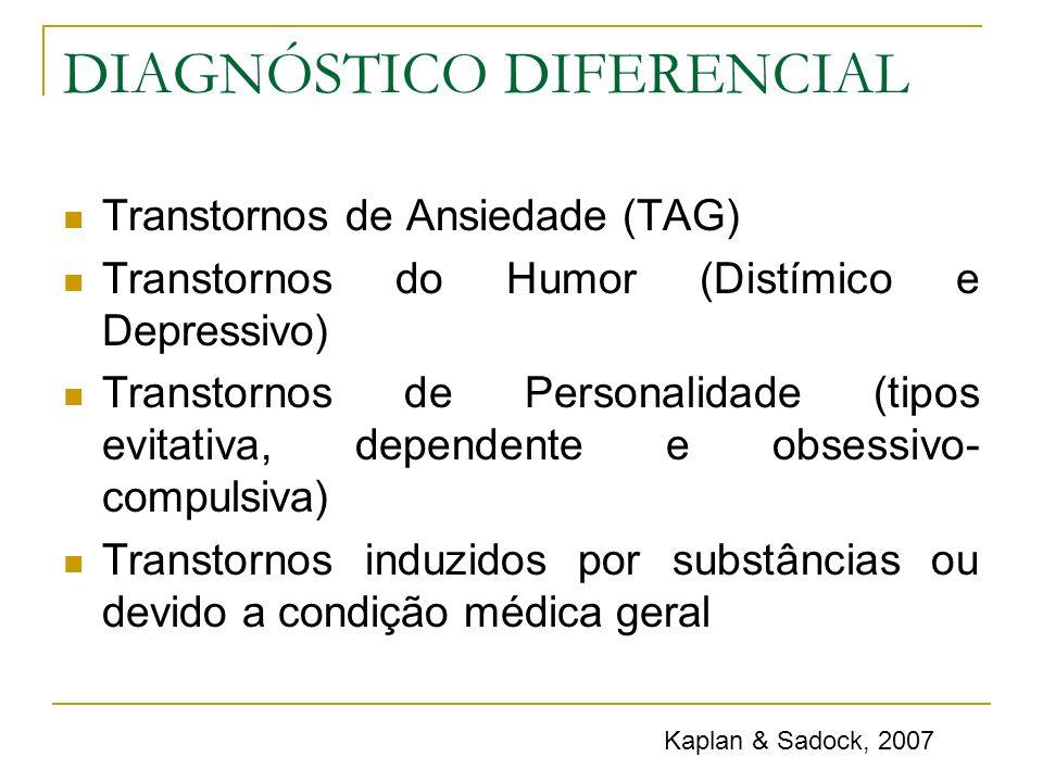 DIAGNÓSTICO DIFERENCIAL Transtornos de Ansiedade (TAG) Transtornos do Humor (Distímico e Depressivo) Transtornos de Personalidade (tipos evitativa, de