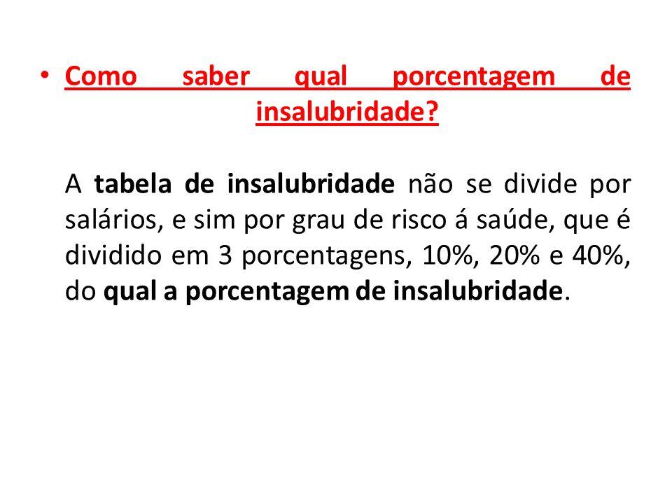Como saber qual porcentagem de insalubridade? A tabela de insalubridade não se divide por salários, e sim por grau de risco á saúde, que é dividido em