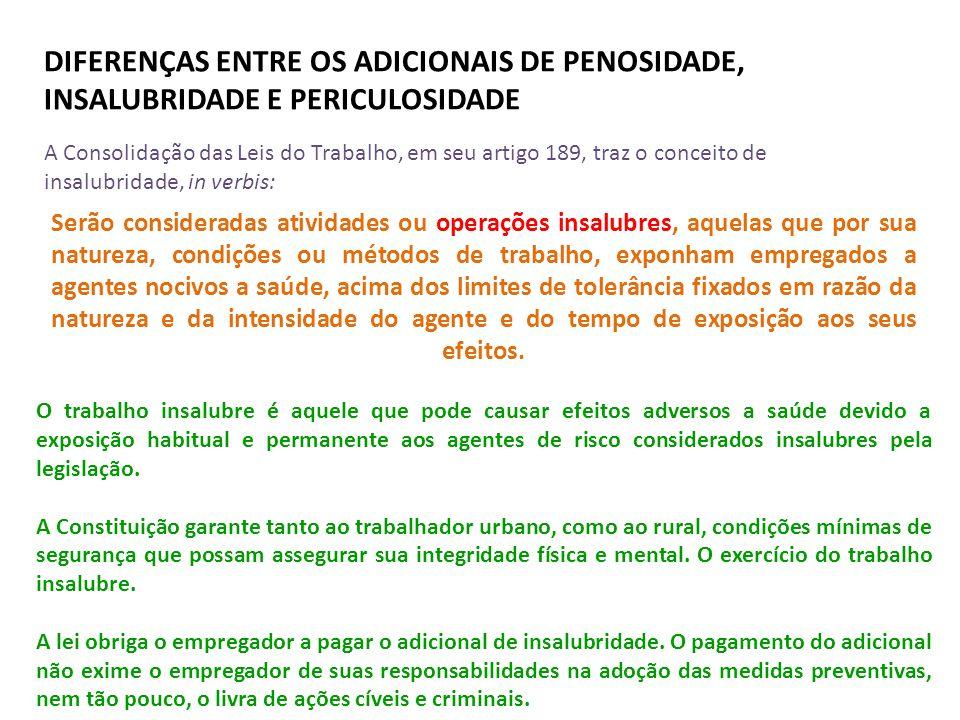 DIFERENÇAS ENTRE OS ADICIONAIS DE PENOSIDADE, INSALUBRIDADE E PERICULOSIDADE Serão consideradas atividades ou operações insalubres, aquelas que por su