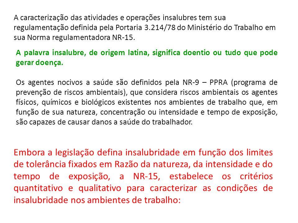 A caracterização das atividades e operações insalubres tem sua regulamentação definida pela Portaria 3.214/78 do Ministério do Trabalho em sua Norma r