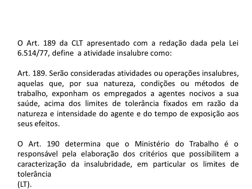 O Art. 189 da CLT apresentado com a redação dada pela Lei 6.514/77, define a atividade insalubre como: Art. 189. Serão consideradas atividades ou oper
