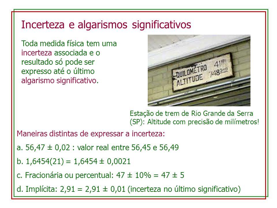 Incerteza e algarismos significativos Estação de trem de Rio Grande da Serra (SP): Altitude com precisão de milímetros! Toda medida física tem uma inc