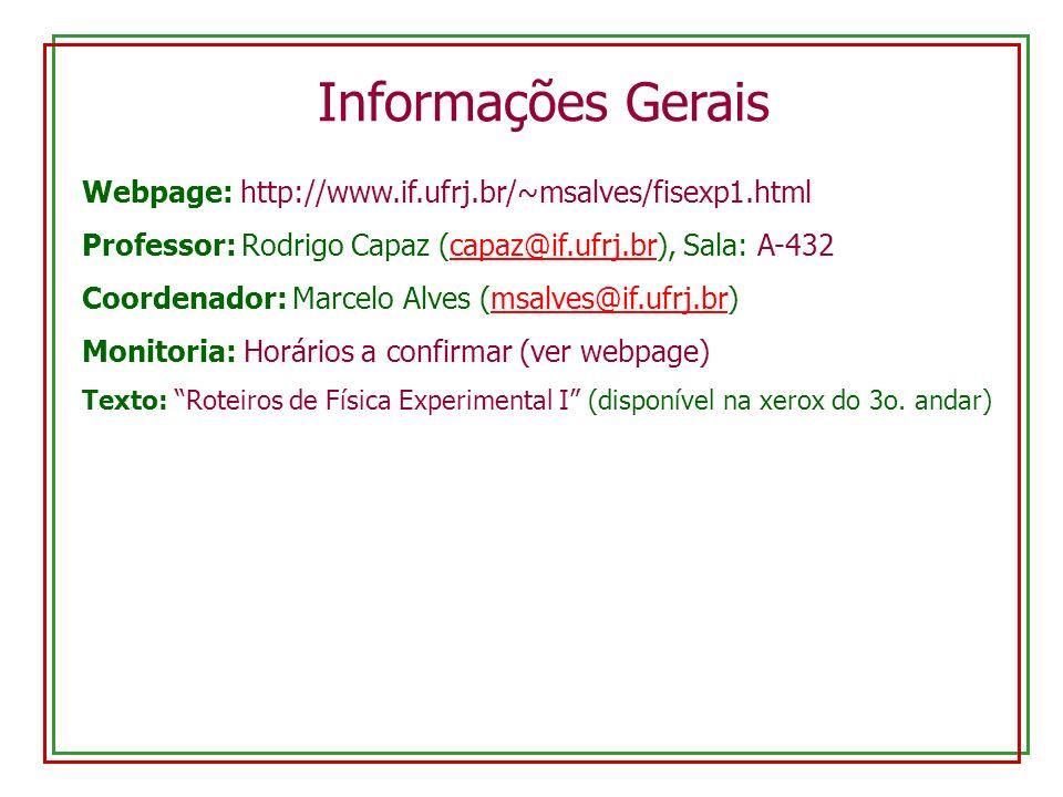 Webpage: http://www.if.ufrj.br/~msalves/fisexp1.html Professor: Rodrigo Capaz (capaz@if.ufrj.br), Sala: A-432capaz@if.ufrj.br Coordenador: Marcelo Alves (msalves@if.ufrj.br)@if.ufrj.br Monitoria: Horários a confirmar (ver webpage) Texto: Roteiros de Física Experimental I (disponível na xerox do 3o.