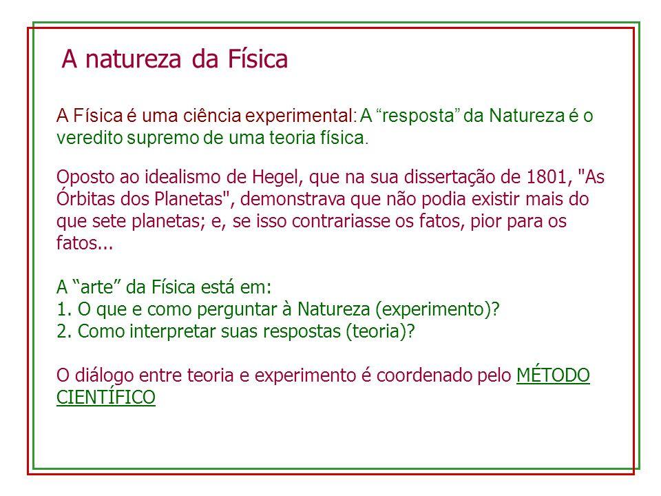 A natureza da Física A Física é uma ciência experimental: A resposta da Natureza é o veredito supremo de uma teoria física. Oposto ao idealismo de Heg
