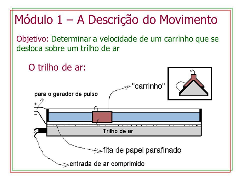 Módulo 1 – A Descrição do Movimento O trilho de ar: Objetivo: Determinar a velocidade de um carrinho que se desloca sobre um trilho de ar