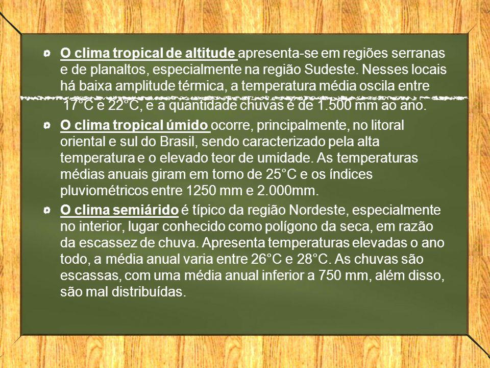 O clima tropical de altitude apresenta-se em regiões serranas e de planaltos, especialmente na região Sudeste.