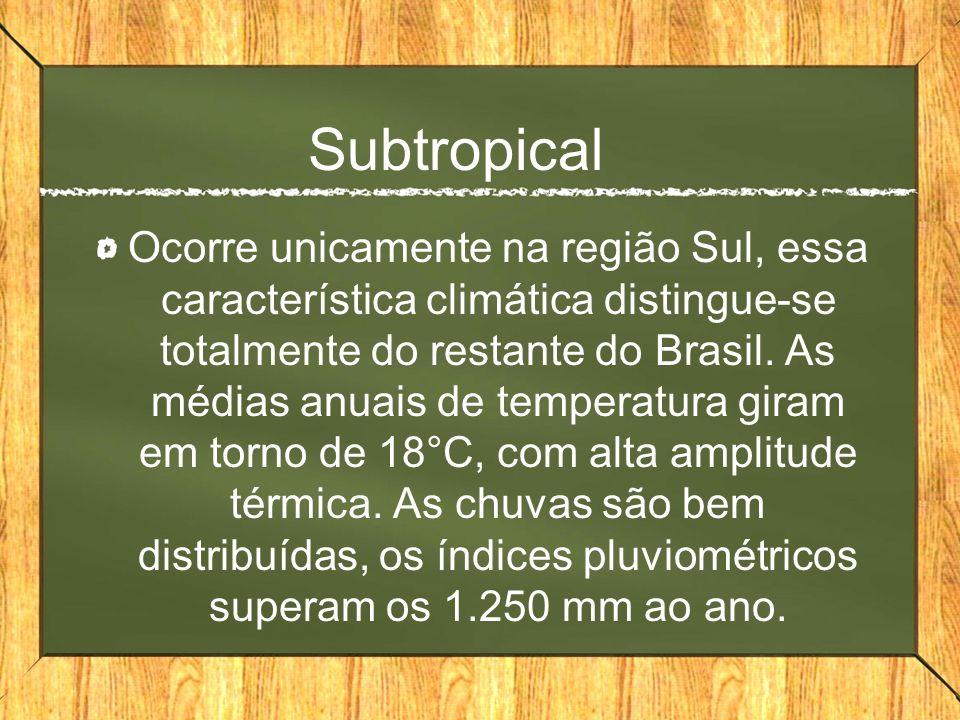 Subtropical Ocorre unicamente na região Sul, essa característica climática distingue-se totalmente do restante do Brasil. As médias anuais de temperat