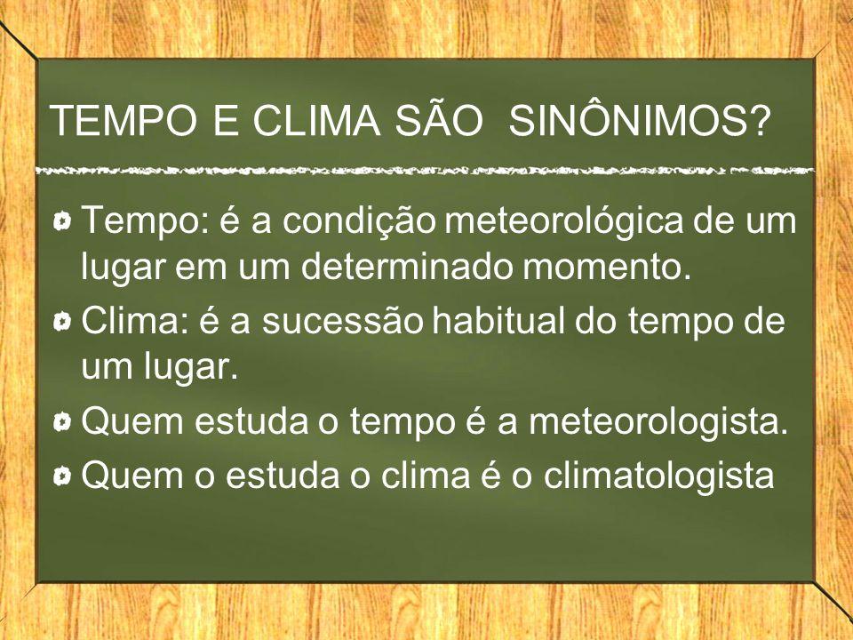 TEMPO E CLIMA SÃO SINÔNIMOS.
