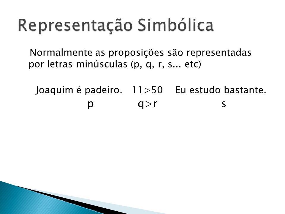 Normalmente as proposições são representadas por letras minúsculas (p, q, r, s... etc) Joaquim é padeiro. 11>50 Eu estudo bastante. p q>r s