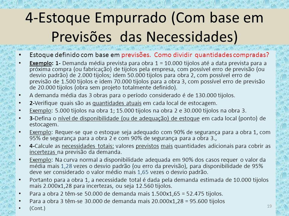 4-Estoque Empurrado (Com base em Previsões das Necessidades) Estoque definido com base em previsões. Como dividir quantidades compradas? Exemplo: 1- D