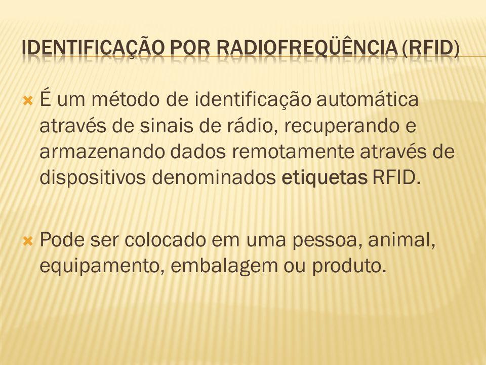 É um método de identificação automática através de sinais de rádio, recuperando e armazenando dados remotamente através de dispositivos denominados etiquetas RFID.