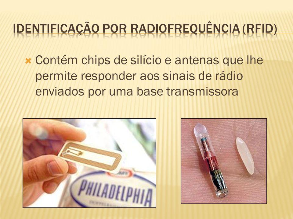 Contém chips de silício e antenas que lhe permite responder aos sinais de rádio enviados por uma base transmissora
