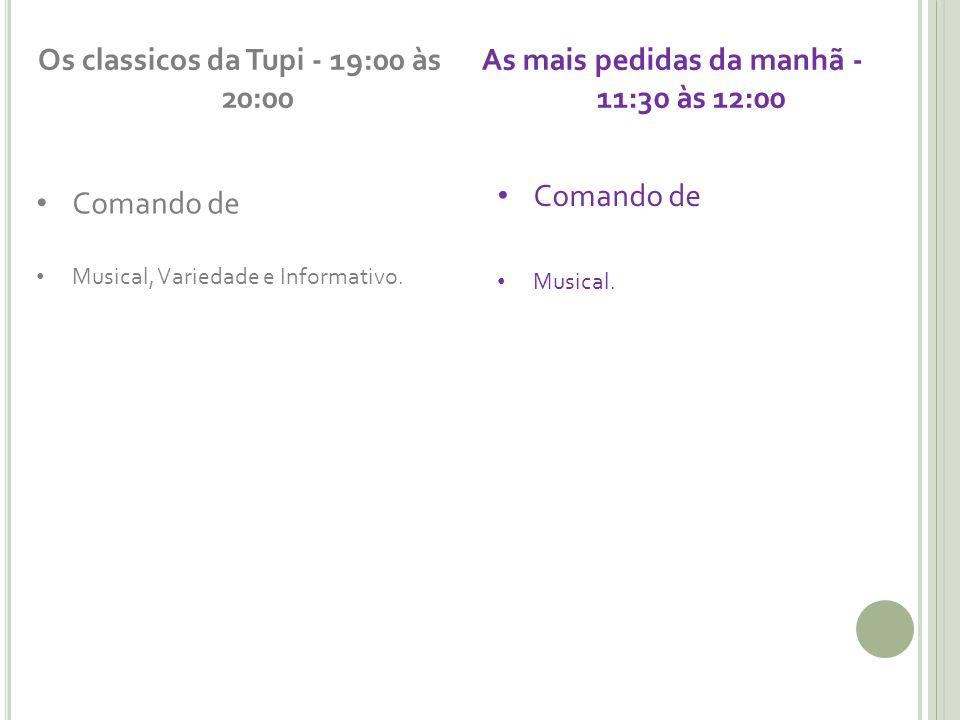Os classicos da Tupi - 19:00 às 20:00 Comando de Musical, Variedade e Informativo. As mais pedidas da manhã - 11:30 às 12:00 Comando de Musical.
