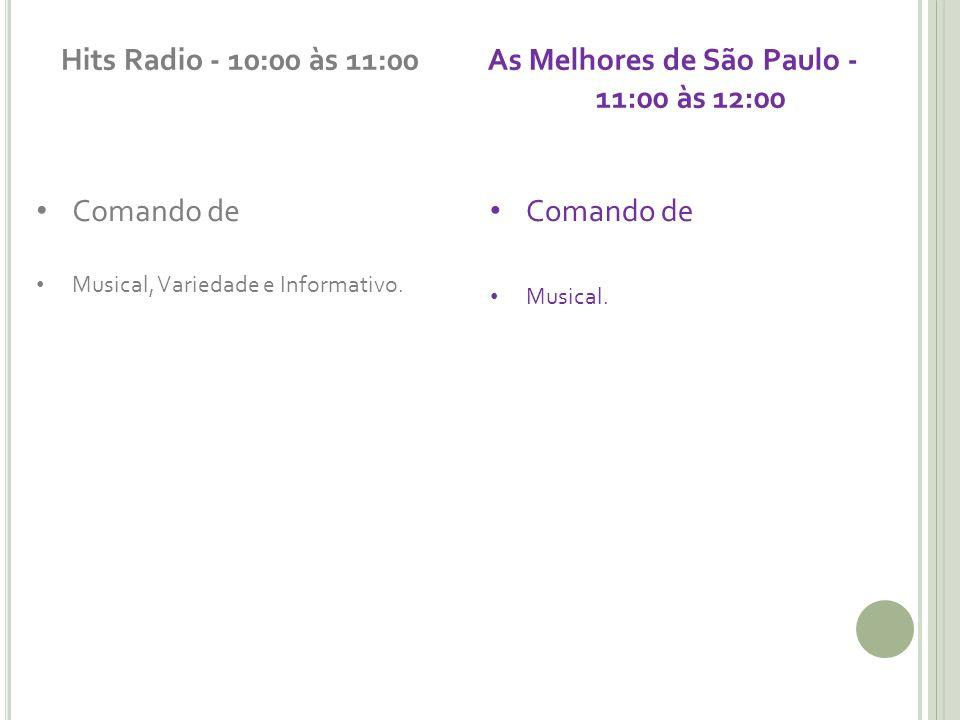 Hits Radio - 10:00 às 11:00 Comando de Musical, Variedade e Informativo. As Melhores de São Paulo - 11:00 às 12:00 Comando de Musical.