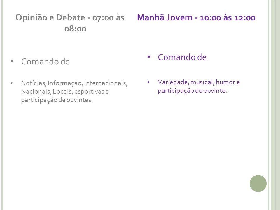 Opinião e Debate - 07:00 às 08:00 Comando de Notícias, Informação, Internacionais, Nacionais, Locais, esportivas e participação de ouvintes.