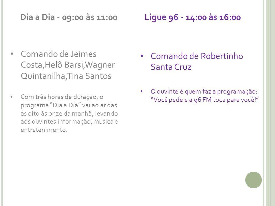 Dia a Dia - 09:00 às 11:00 Comando de Jeimes Costa,Helô Barsi,Wagner Quintanilha,Tina Santos Com três horas de duração, o programa Dia a Dia vai ao ar