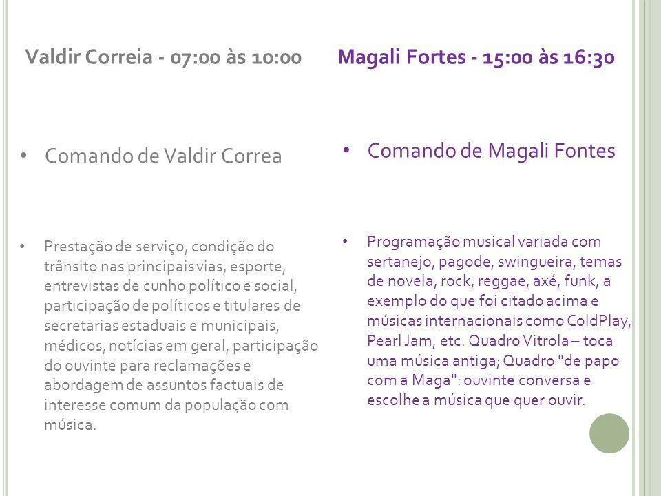Valdir Correia - 07:00 às 10:00 Comando de Valdir Correa Prestação de serviço, condição do trânsito nas principais vias, esporte, entrevistas de cunho