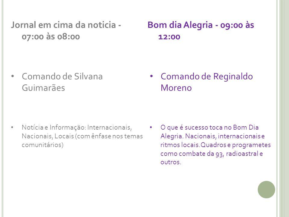 Jornal em cima da noticia - 07:00 às 08:00 Comando de Silvana Guimarães Notícia e Informação: Internacionais, Nacionais, Locais (com ênfase nos temas