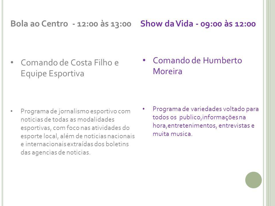 Bola ao Centro - 12:00 às 13:00 Comando de Costa Filho e Equipe Esportiva Programa de jornalismo esportivo com noticias de todas as modalidades esport