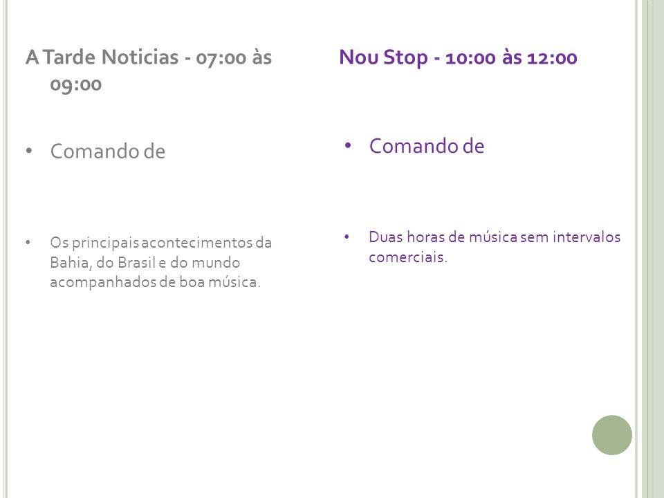 A Tarde Noticias - 07:00 às 09:00 Comando de Os principais acontecimentos da Bahia, do Brasil e do mundo acompanhados de boa música. Nou Stop - 10:00