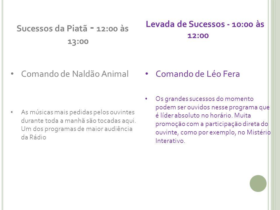Sucessos da Piatã - 12:00 às 13:00 Comando de Naldão Animal As músicas mais pedidas pelos ouvintes durante toda a manhã são tocadas aqui.