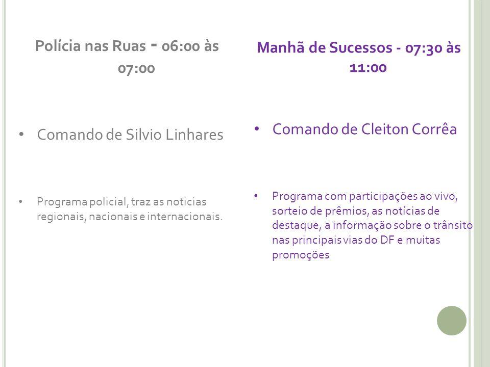 Polícia nas Ruas - 06:00 às 07:00 Comando de Silvio Linhares Programa policial, traz as noticias regionais, nacionais e internacionais.