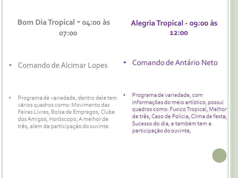 Bom Dia Tropical - 04:00 às 07:00 Comando de Alcimar Lopes Programa de variedade, dentro dele tem vários quadros como: Movimento das Feiras Livres, Bo
