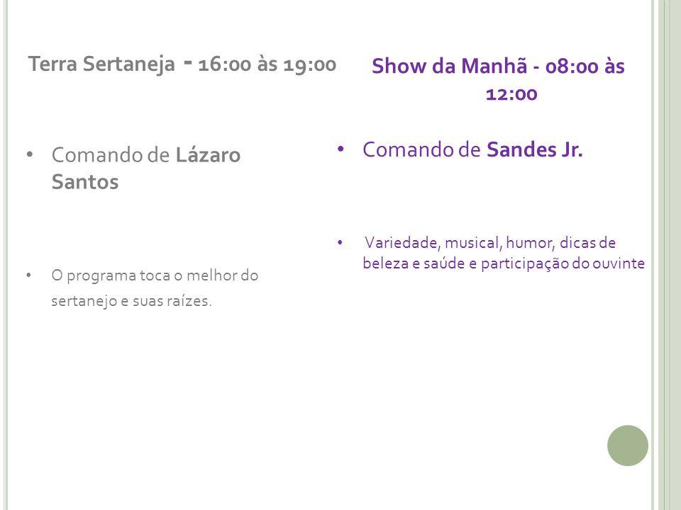 Terra Sertaneja - 16:00 às 19:00 Comando de Lázaro Santos O programa toca o melhor do sertanejo e suas raízes. Show da Manhã - 08:00 às 12:00 Comando