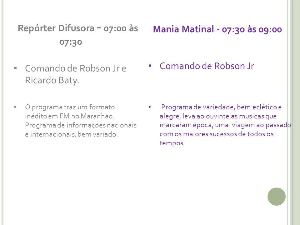 Repórter Difusora - 07:00 às 07:30 Comando de Robson Jr e Ricardo Baty. O programa traz um formato inédito em FM no Maranhão. Programa de informações