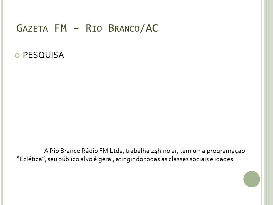 G AZETA FM – R IO B RANCO /AC PESQUISA A Rio Branco Rádio FM Ltda, trabalha 24h no ar, tem uma programação Eclética, seu público alvo é geral, atingin