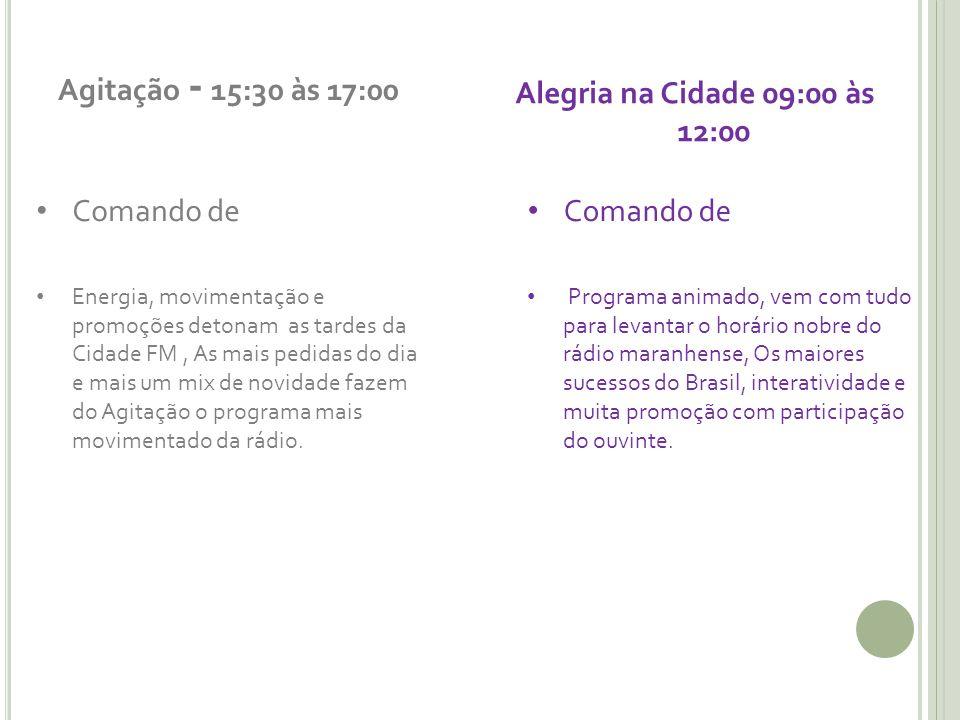 Agitação - 15:30 às 17:00 Comando de Energia, movimentação e promoções detonam as tardes da Cidade FM, As mais pedidas do dia e mais um mix de novidad