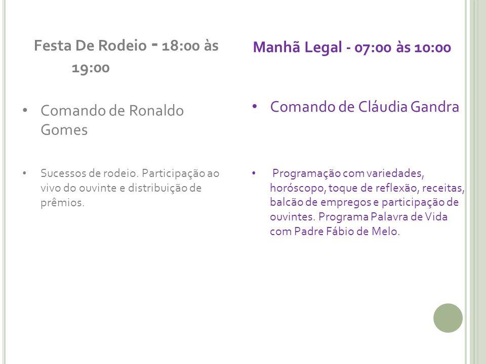 Festa De Rodeio - 18:00 às 19:00 Comando de Ronaldo Gomes Sucessos de rodeio. Participação ao vivo do ouvinte e distribuição de prêmios. Manhã Legal -