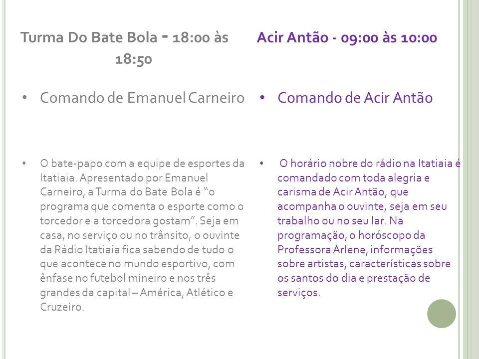Turma Do Bate Bola - 18:00 às 18:50 Comando de Emanuel Carneiro O bate-papo com a equipe de esportes da Itatiaia. Apresentado por Emanuel Carneiro, a