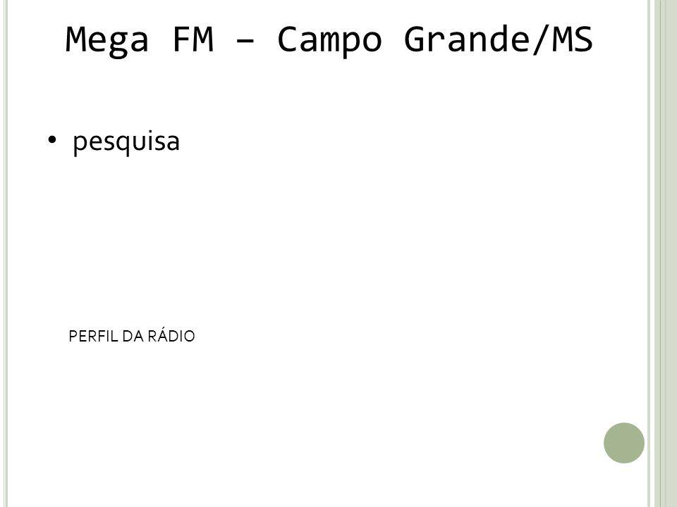 Mega FM – Campo Grande/MS pesquisa PERFIL DA RÁDIO