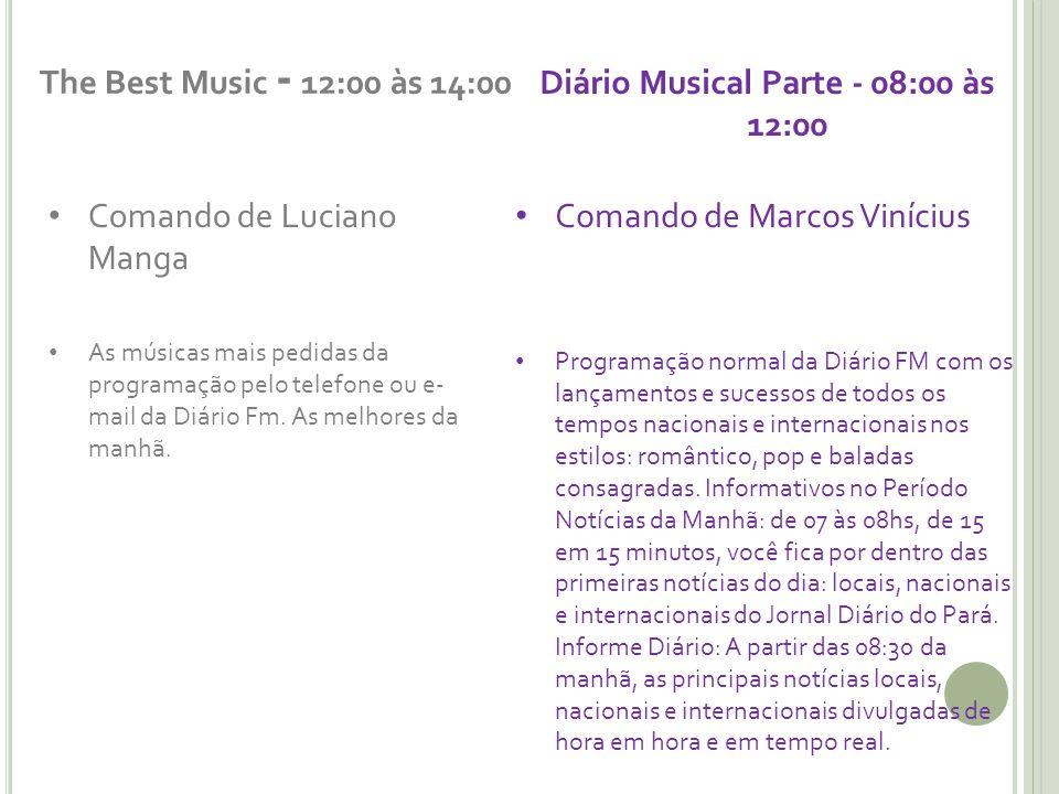 The Best Music - 12:00 às 14:00 Comando de Luciano Manga As músicas mais pedidas da programação pelo telefone ou e- mail da Diário Fm. As melhores da