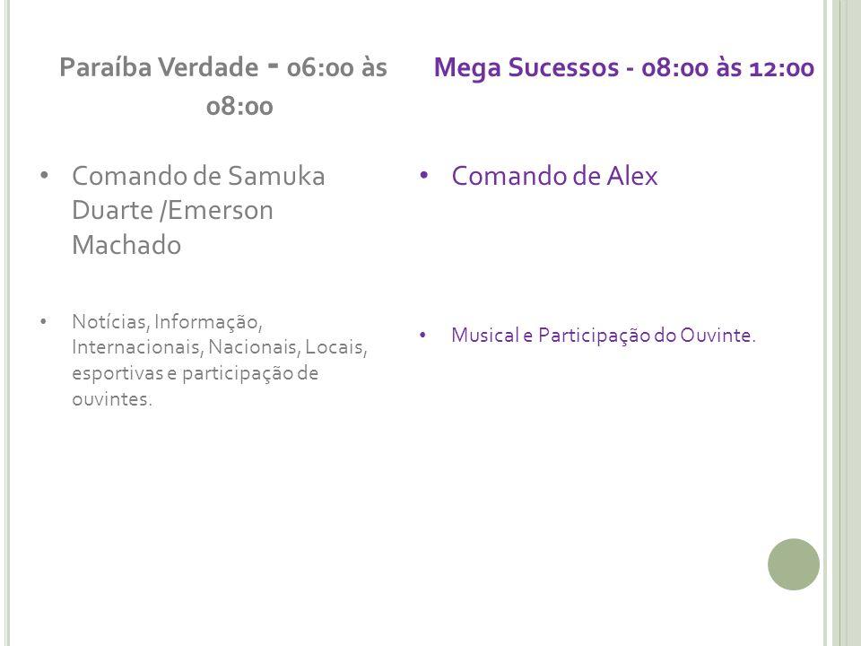 Paraíba Verdade - 06:00 às 08:00 Comando de Samuka Duarte /Emerson Machado Notícias, Informação, Internacionais, Nacionais, Locais, esportivas e participação de ouvintes.