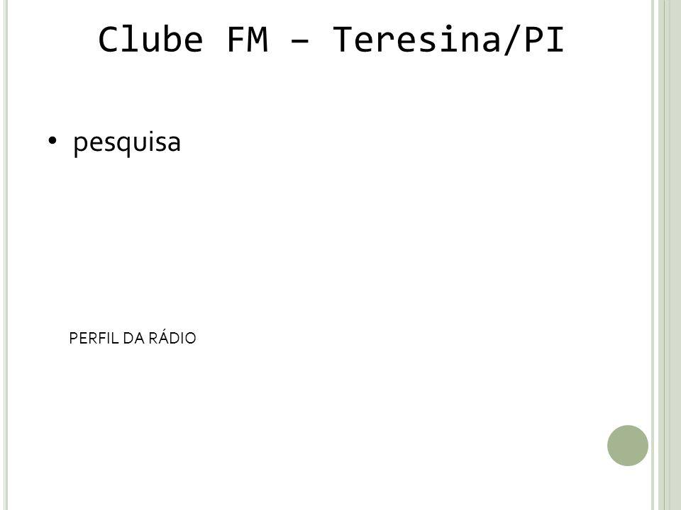 Clube FM – Teresina/PI pesquisa PERFIL DA RÁDIO