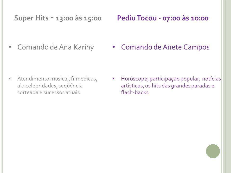 Super Hits - 13:00 às 15:00 Comando de Ana Kariny Atendimento musical, filmedicas, ala celebridades, seqüência sorteada e sucessos atuais.