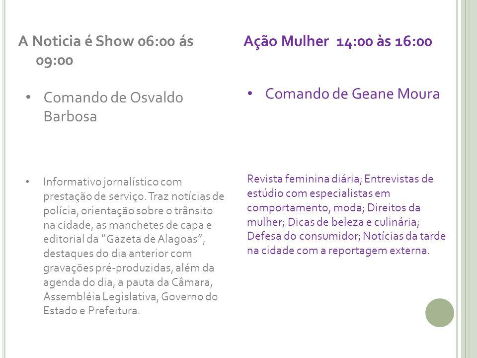 A Noticia é Show 06:00 ás 09:00 Comando de Osvaldo Barbosa Informativo jornalístico com prestação de serviço. Traz notícias de polícia, orientação sob
