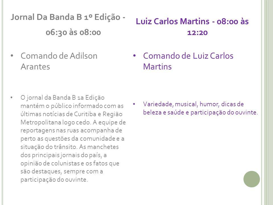 Jornal Da Banda B 1º Edição - 06:30 às 08:00 Comando de Adilson Arantes O jornal da Banda B 1a Edição mantém o público informado com as últimas notíci