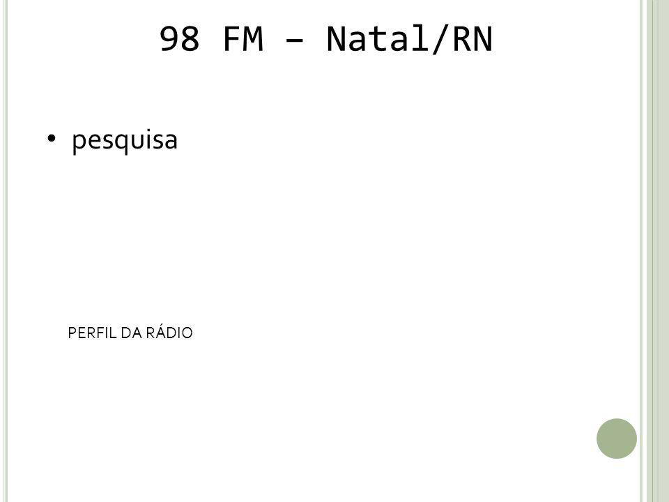 98 FM – Natal/RN pesquisa PERFIL DA RÁDIO