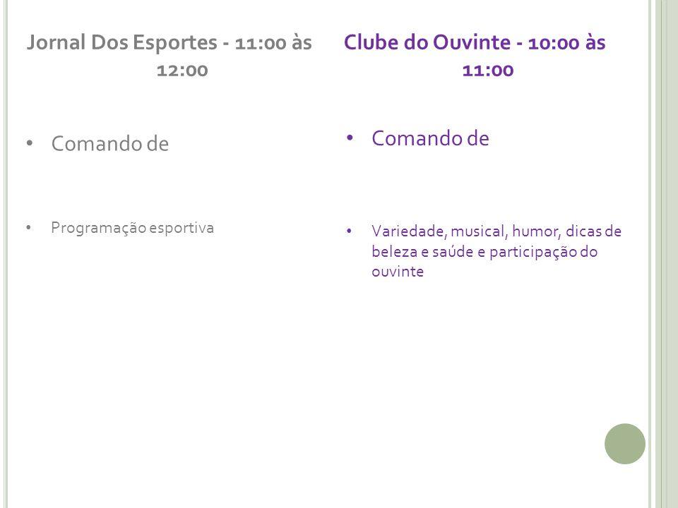 Jornal Dos Esportes - 11:00 às 12:00 Comando de Programação esportiva Clube do Ouvinte - 10:00 às 11:00 Comando de Variedade, musical, humor, dicas de beleza e saúde e participação do ouvinte