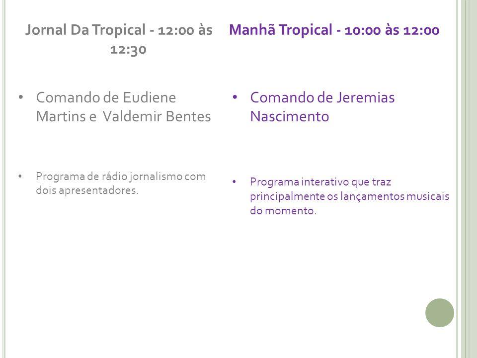 Jornal Da Tropical - 12:00 às 12:30 Comando de Eudiene Martins e Valdemir Bentes Programa de rádio jornalismo com dois apresentadores.
