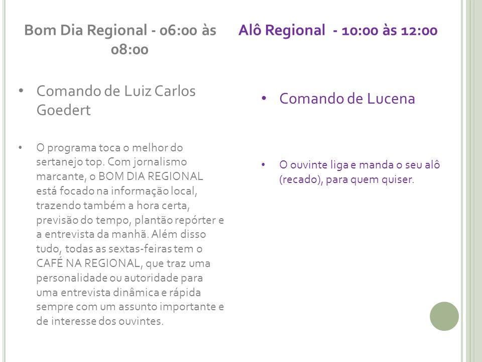 Bom Dia Regional - 06:00 às 08:00 Comando de Luiz Carlos Goedert O programa toca o melhor do sertanejo top. Com jornalismo marcante, o BOM DIA REGIONA