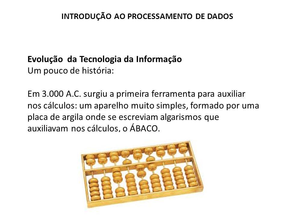 Evolução da Tecnologia da Informação Um pouco de história: Em 3.000 A.C. surgiu a primeira ferramenta para auxiliar nos cálculos: um aparelho muito si