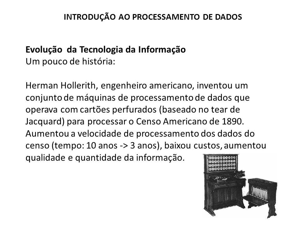 Evolução da Tecnologia da Informação Um pouco de história: Herman Hollerith, engenheiro americano, inventou um conjunto de máquinas de processamento d